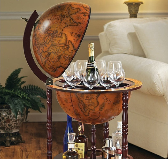 Old world italian globe bar the old world charm of 16th century nautical maps is fused onto this globe bar opening from its hinged meridian reveals hand painted interior frescoes gumiabroncs Choice Image