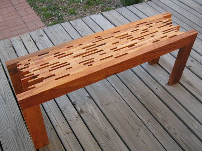 Repurposed Mahogany Slat Bench