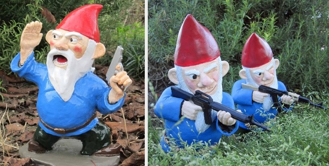 Standing Just Under 1 Foot Tall, These Garden Gnomes Arenu0027t Your Typical  Peaceful Creatures. The Combat Garden Gnome Officer Is Armed With A Pistol  While ...