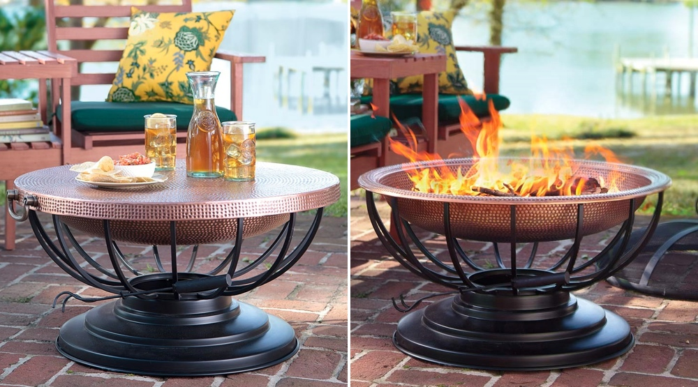 Etonnant A Solid Hammered Copper Fire Pit That Converts To A Table