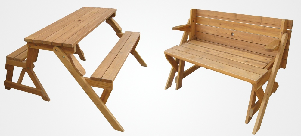 Beau A Garden Bench That Unfolds Into A Picnic Table