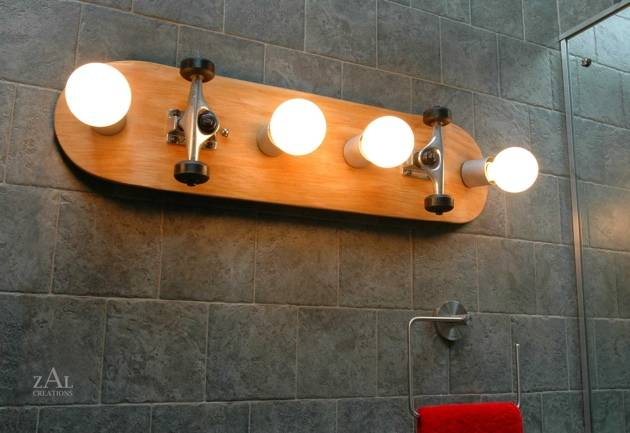 Lighting fixtures made from bottles skateboards baseball bats and more Bathroom light fixtures chicago