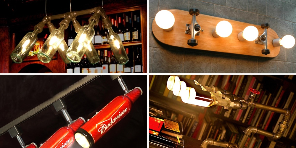 Lighting Fixtures Made From Bottles Skateboards Baseball