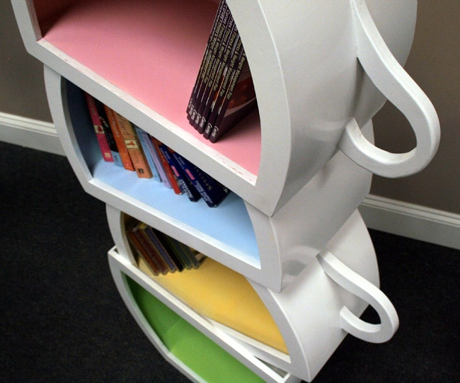 Stacked Teacups Bookshelf
