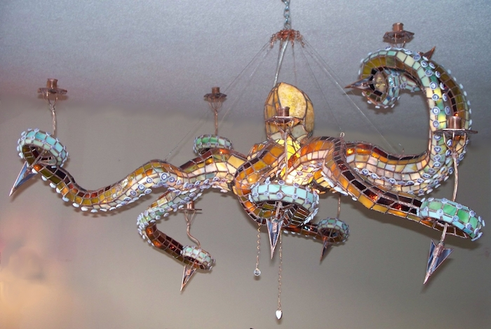 glass octopus chandelier squid made by masons creations this stained glass octopus chandelier measures approximately 4u2032 across and features detachable lightup tentacles that can be lit