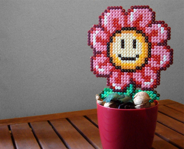 Super Mario Inspired 8bit Plants Made Of Fused Plastic Beads