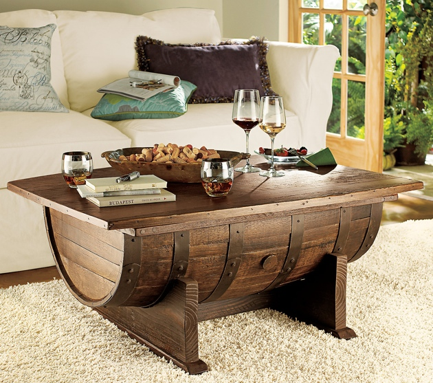 Handmade Vintage Oak Whiskey Barrel Coffee Table