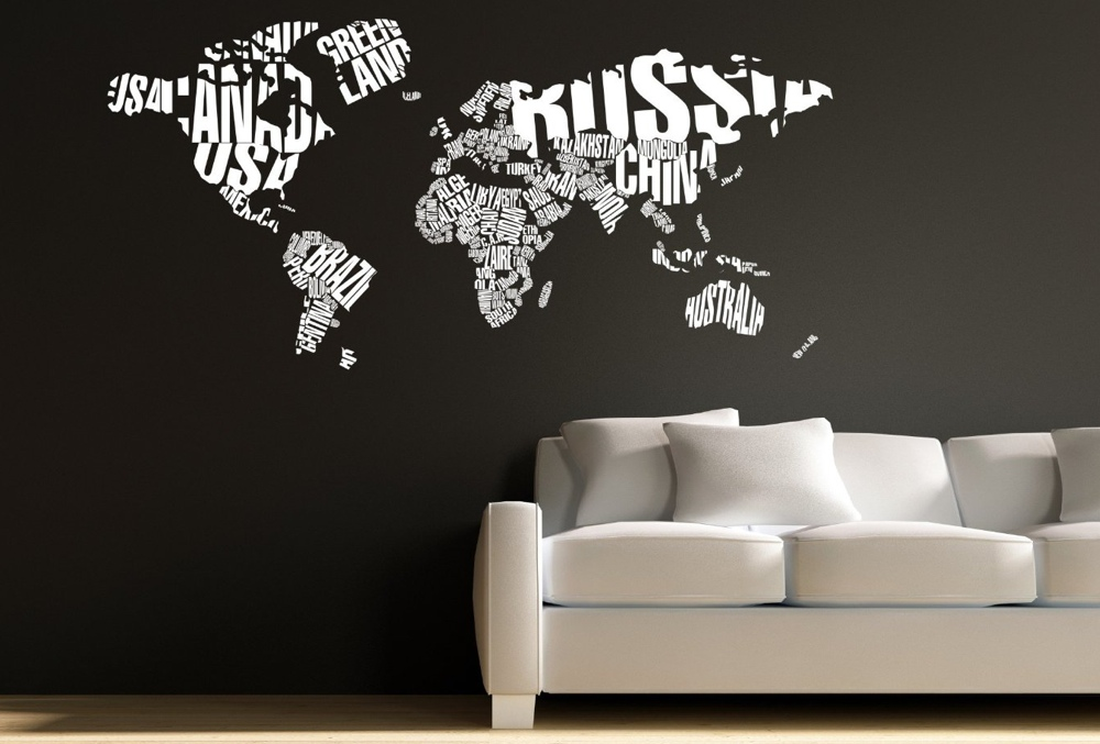 Typographic world map wall decal gumiabroncs Image collections