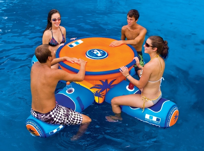 Wow aqua table a 4 person floating picnic table with built in cooler watchthetrailerfo
