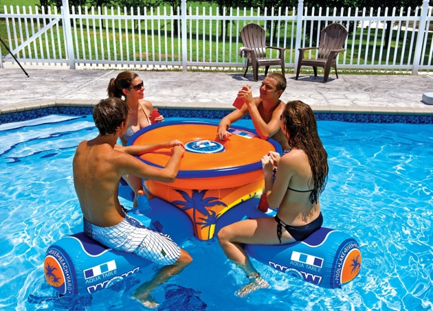 Wow aqua table a 4 person floating picnic table with built in cooler it also features a huge built in cooler and a recessed cup holder on each seat watchthetrailerfo