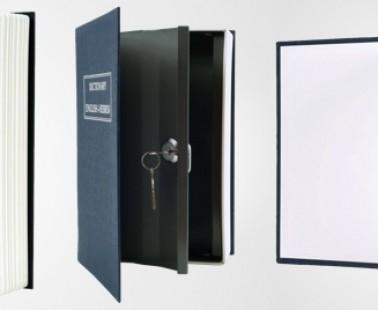 A Metal Safe Inside A Dictionary