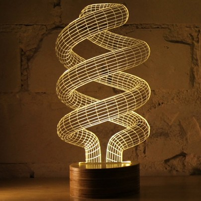 This 3D Spiral Lamp Is An Optical Illusion. It Is Actually Flat.