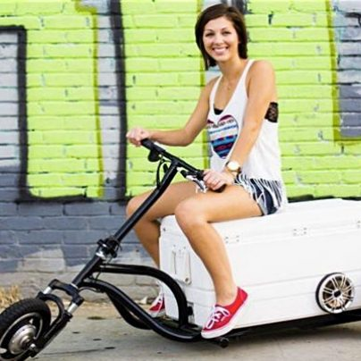 A Three-Wheeled, Rideable, Drivable Cooler