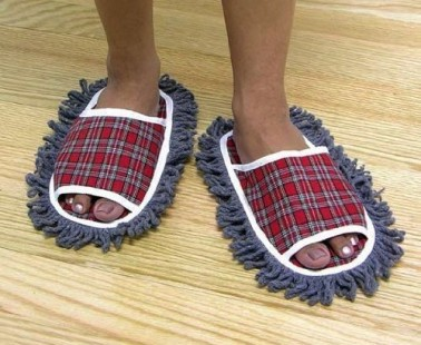 Dust The Floor Walking In These Dust Mop Slippers