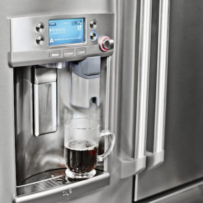 A Fridge With A Keurig Coffee Machine Built Right Into the Door