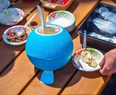 The Yaylabs Soft-Shell Ice Cream Ball Makes a Pint/Quart of Homemade Ice Cream by Playing with It
