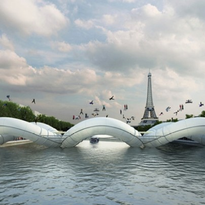 An Inflatable Trampoline Bridge In Paris