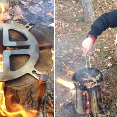 Make a Grill With Only A Chopped Log