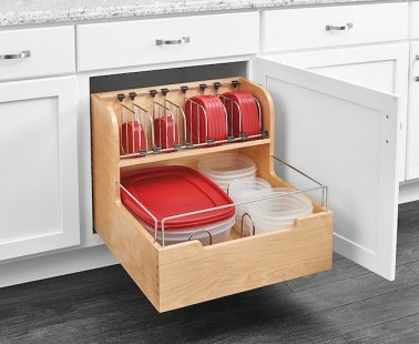 The Rev-A-Shelf 4FSCO Is A Food Storage Container Organizer That Glides Out Of Your Cupboard